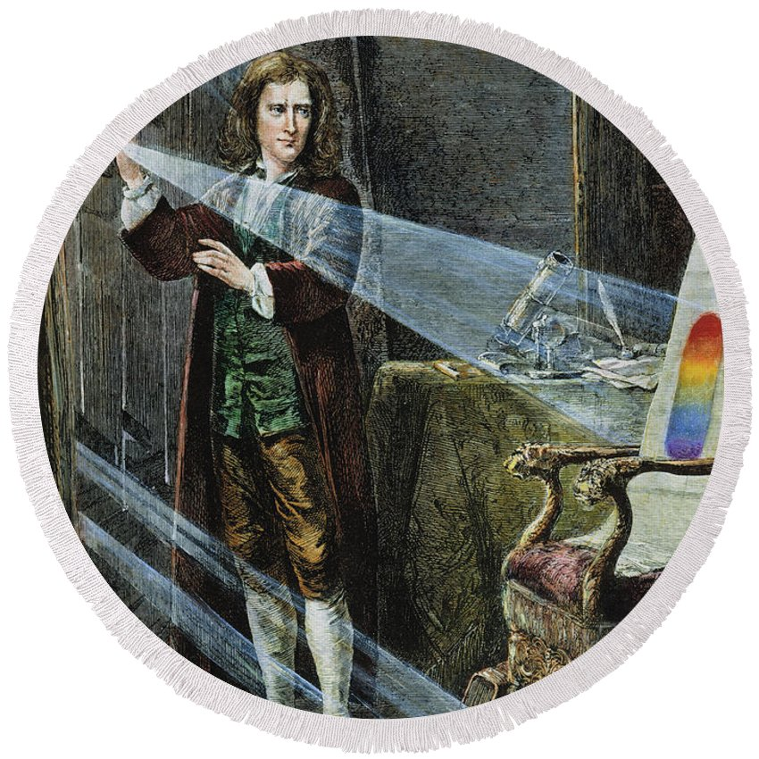 18th Century Round Beach Towel featuring the photograph Sir Isaac Newton by Granger