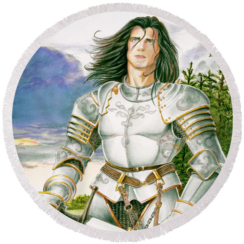 Swords Round Beach Towel featuring the painting Sir Lancelot by Melissa A Benson