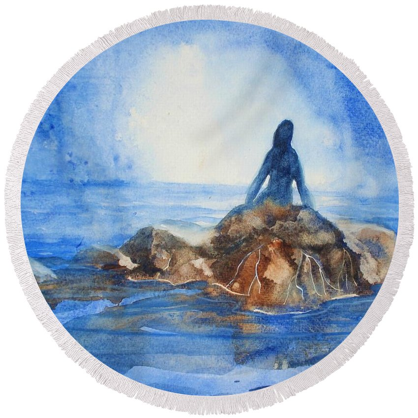Mermaid Round Beach Towel featuring the painting Siren Song by Marilyn Jacobson