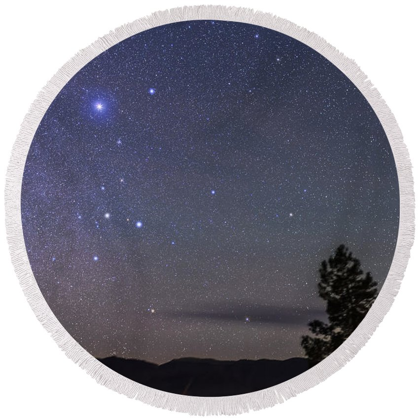 Canis Major Round Beach Towel featuring the photograph Sirius & Canis Major Rising In New by Alan Dyer