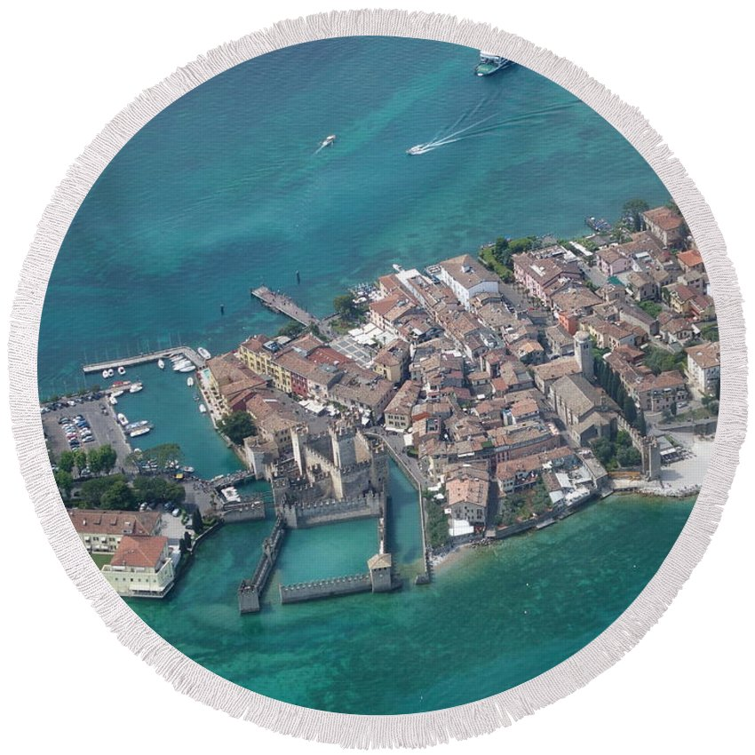Garda Round Beach Towel featuring the photograph Sirmione's Castle by Riccardo Mottola