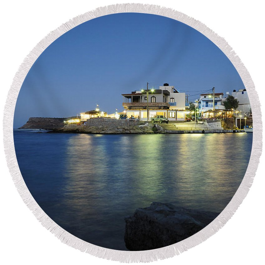 Sissi Round Beach Towel featuring the photograph Sissi, Crete by Smart Aviation