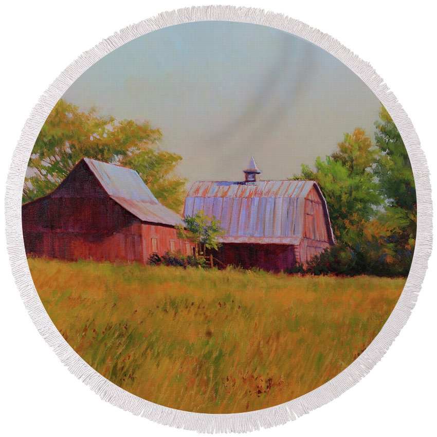 Barns Round Beach Towel featuring the painting Sisters by Keith Burgess