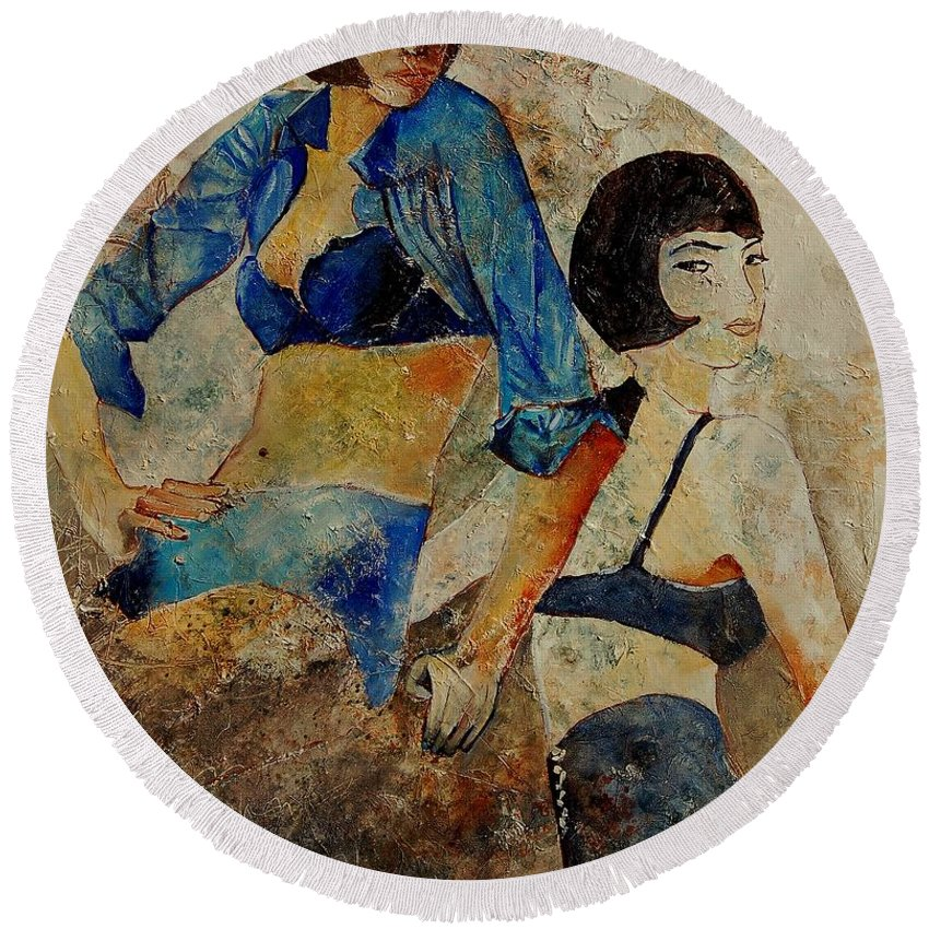 Girl Round Beach Towel featuring the painting Sisters by Pol Ledent