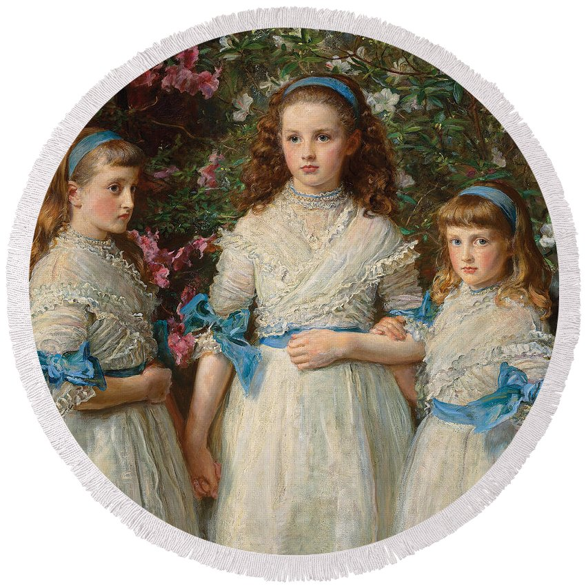 Millais Round Beach Towel featuring the painting Sisters by Sir John Everett Millais