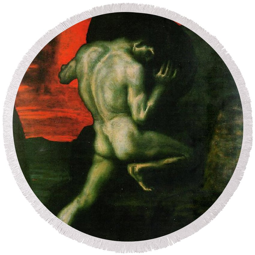 Franz Von Stuck Round Beach Towel featuring the painting Sisyphus by Franz von Stuck