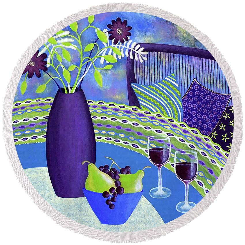 Sit A While Round Beach Towel featuring the painting Sit A While by Lisa Frances Judd