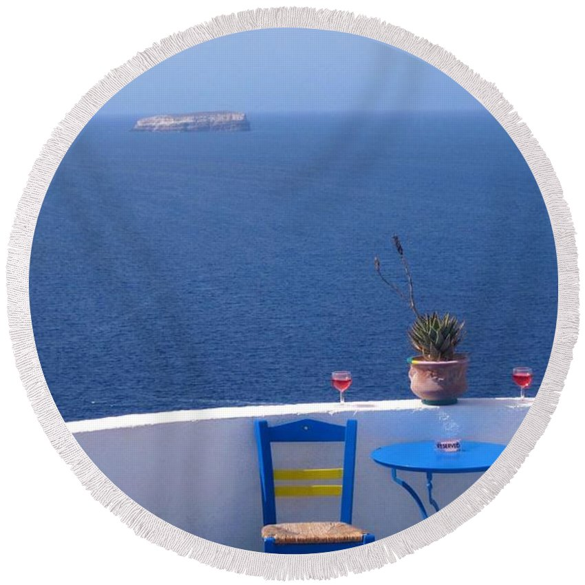 Santorini Round Beach Towel featuring the photograph Sit And Enjoy by Karen Norton