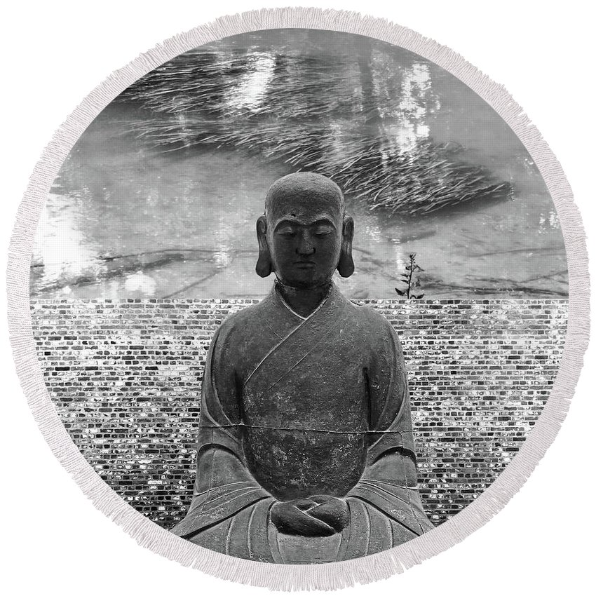 Buddha Round Beach Towel featuring the photograph Flowing Mind by Zena Zero
