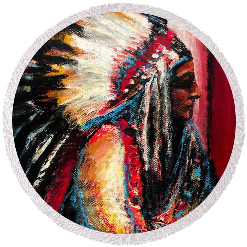 Native American Round Beach Towel featuring the painting Sitting Bull by Frank Botello