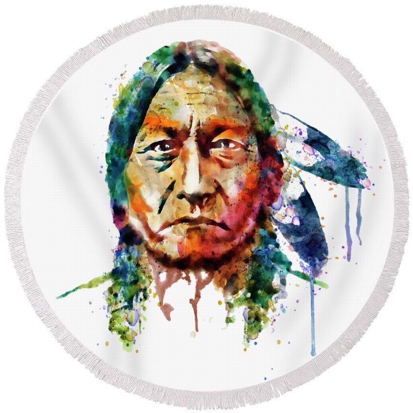 Sitting Bull Round Beach Towel featuring the painting Sitting Bull Watercolor Painting by Marian Voicu