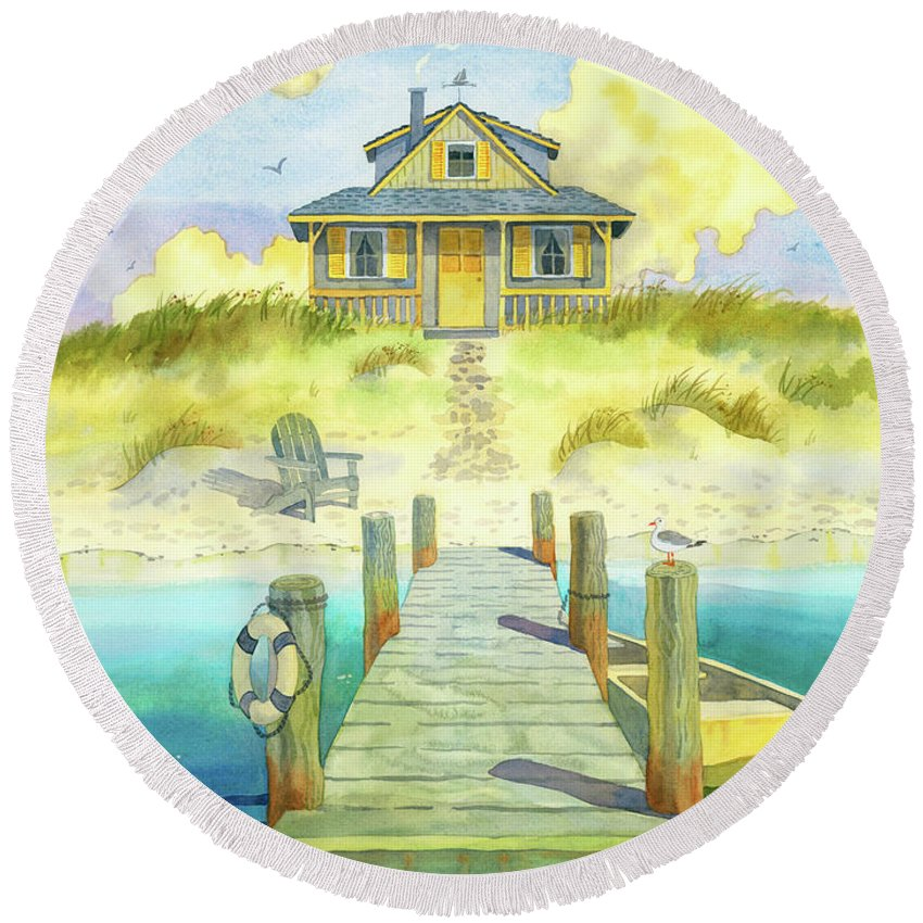 East Coast Beach Round Beach Towel featuring the digital art Sitting By The Dock by Robin Wethe Altman