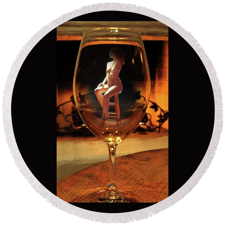 Sitting Nude In Glass. Shirley Anderson Round Beach Towel featuring the photograph Sitting Nude In Glass by Shirley Anderson