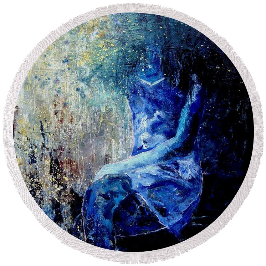 Woman Girl Fashion Round Beach Towel featuring the painting Sitting Young Girl by Pol Ledent