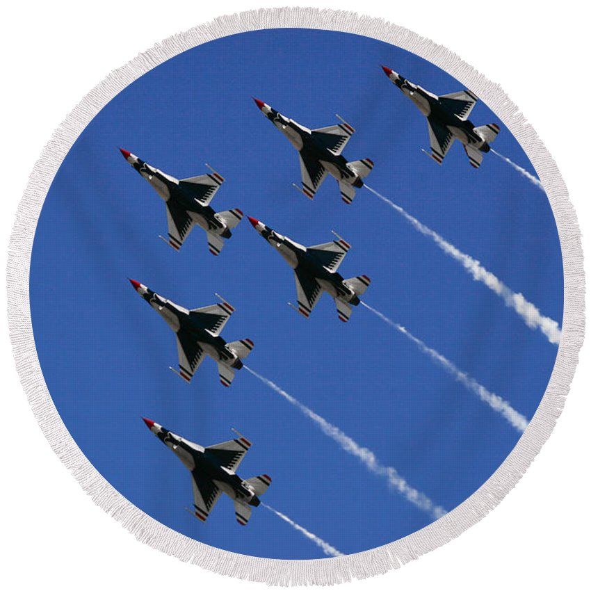 Air Force Round Beach Towel featuring the photograph Six In Flight by Chandra Nyleen