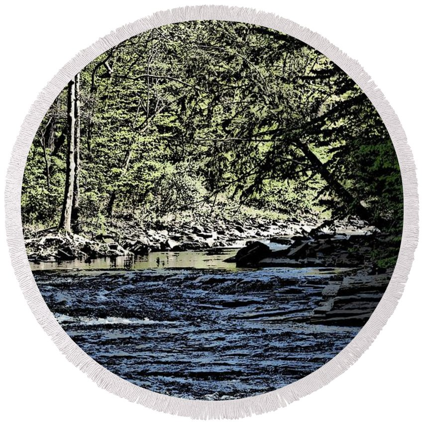 Landscape Round Beach Towel featuring the photograph Six Mile Creek Ithaca Ny by David Lane