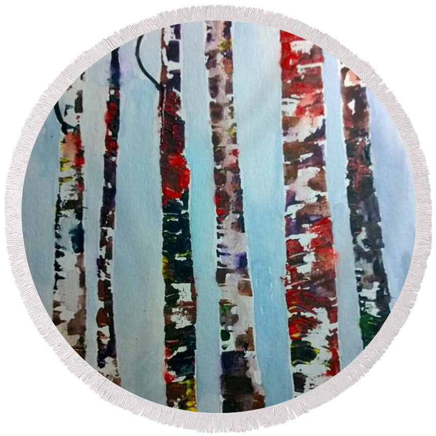 Watercolor Painting Round Beach Towel featuring the painting Six Tall Trees by Eunice Miller