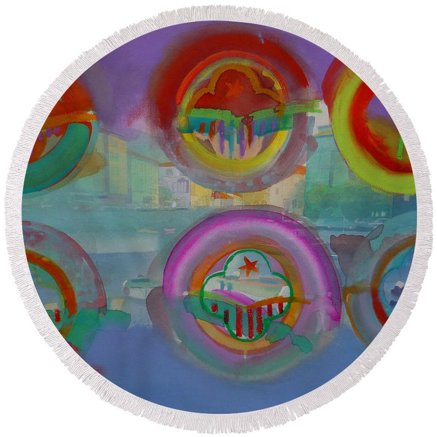 Landscape Round Beach Towel featuring the painting Six Visions Of Heaven by Charles Stuart