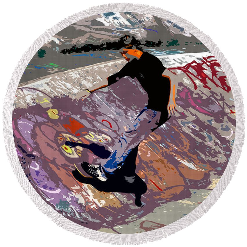Skate Park Round Beach Towel featuring the photograph Skate Park by David Lee Thompson