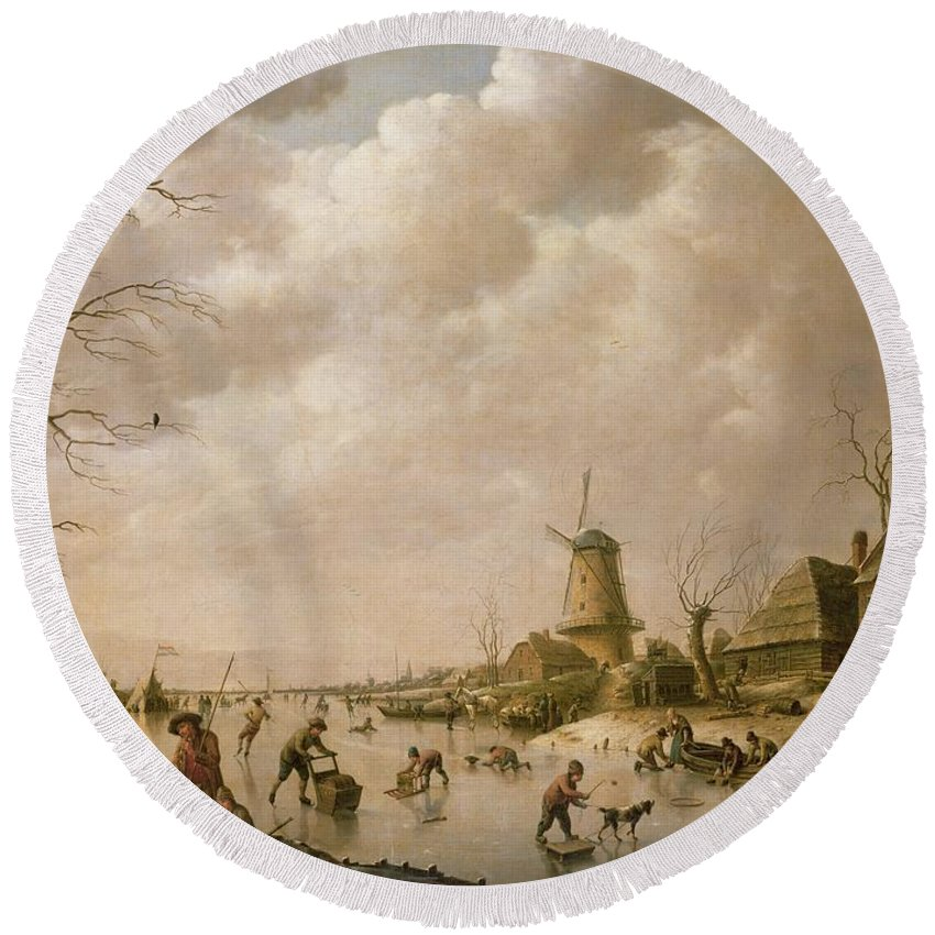 Skaters Round Beach Towel featuring the painting Skaters On A Frozen Canal by Hendrik Willem Schweickardt