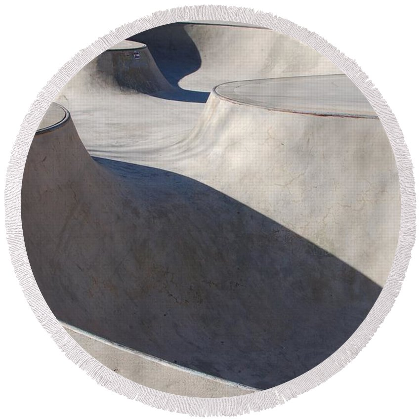 Color Photography Round Beach Towel featuring the photograph Skatescape Two by Kirk Griffith
