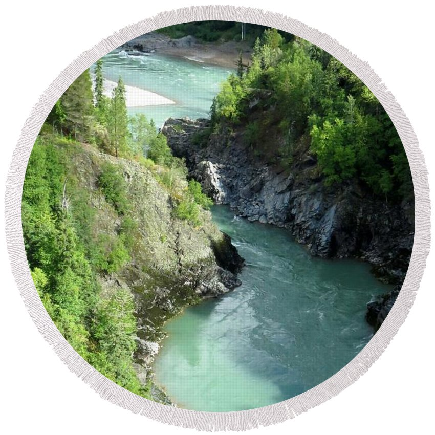 River Round Beach Towel featuring the photograph Bulkley River Canyon by Frank Townsley