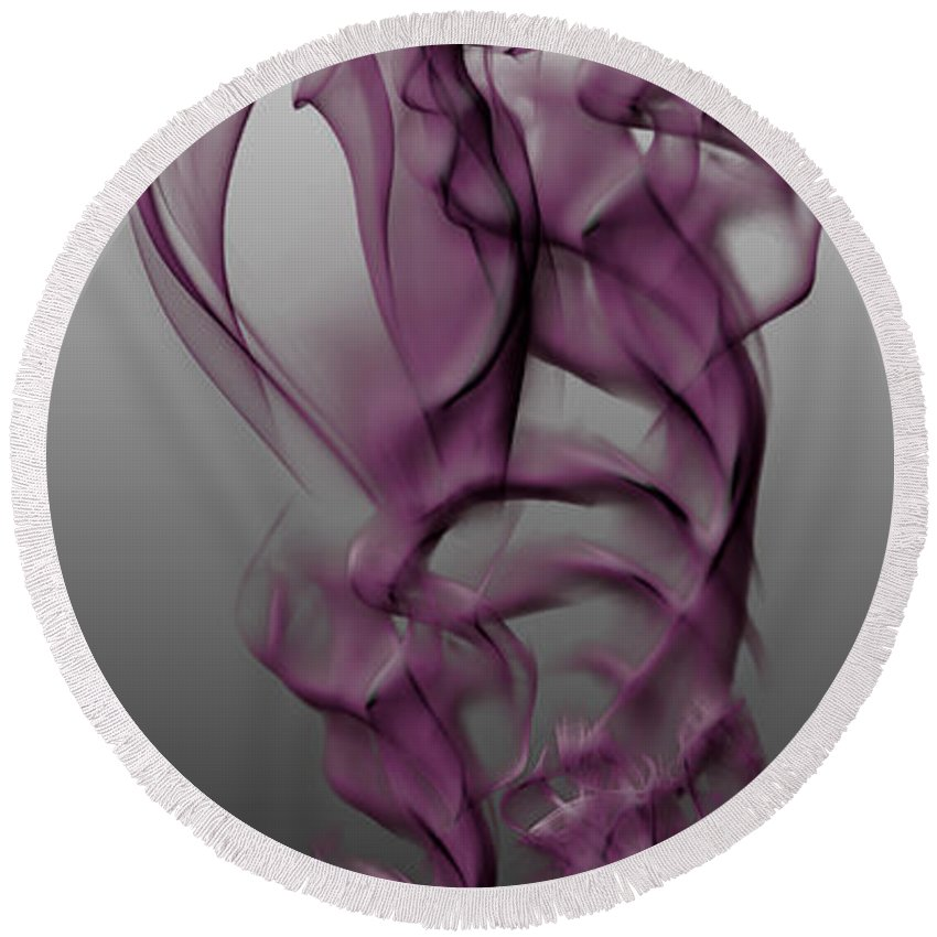 Clay Round Beach Towel featuring the digital art Skeletal Flow by Clayton Bruster