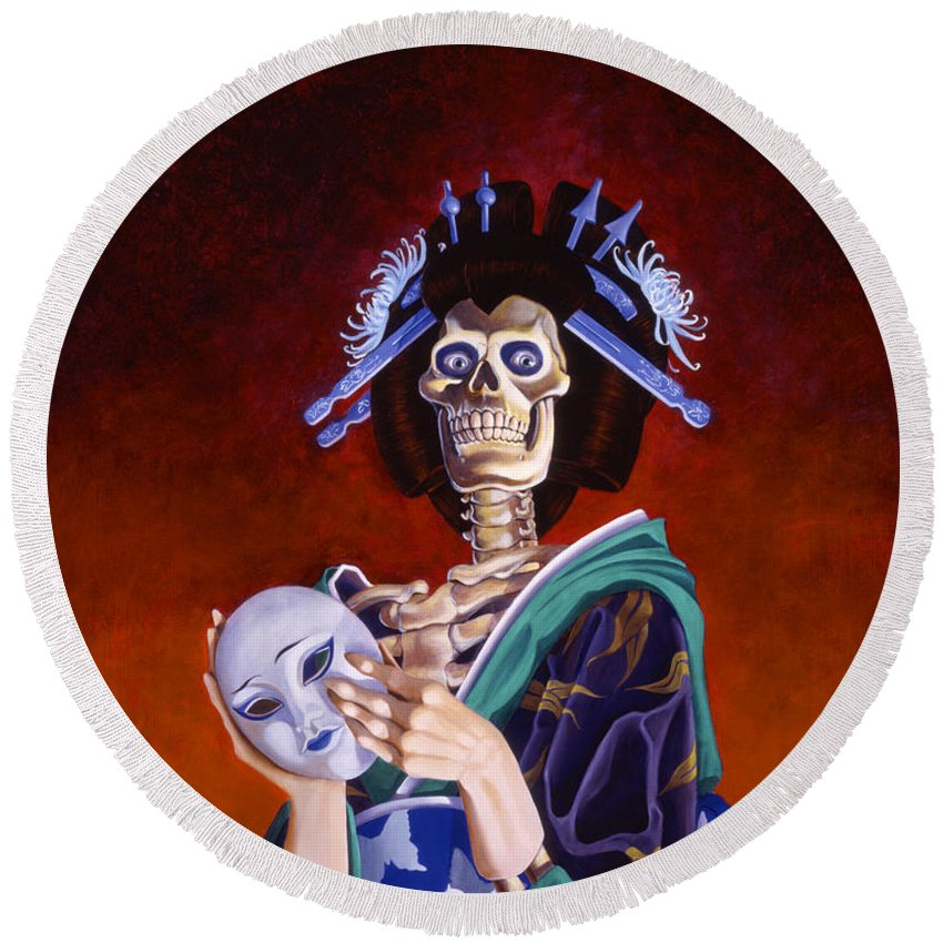 Skeleton Round Beach Towel featuring the painting Skeletal Geisha With Mask by Melissa A Benson