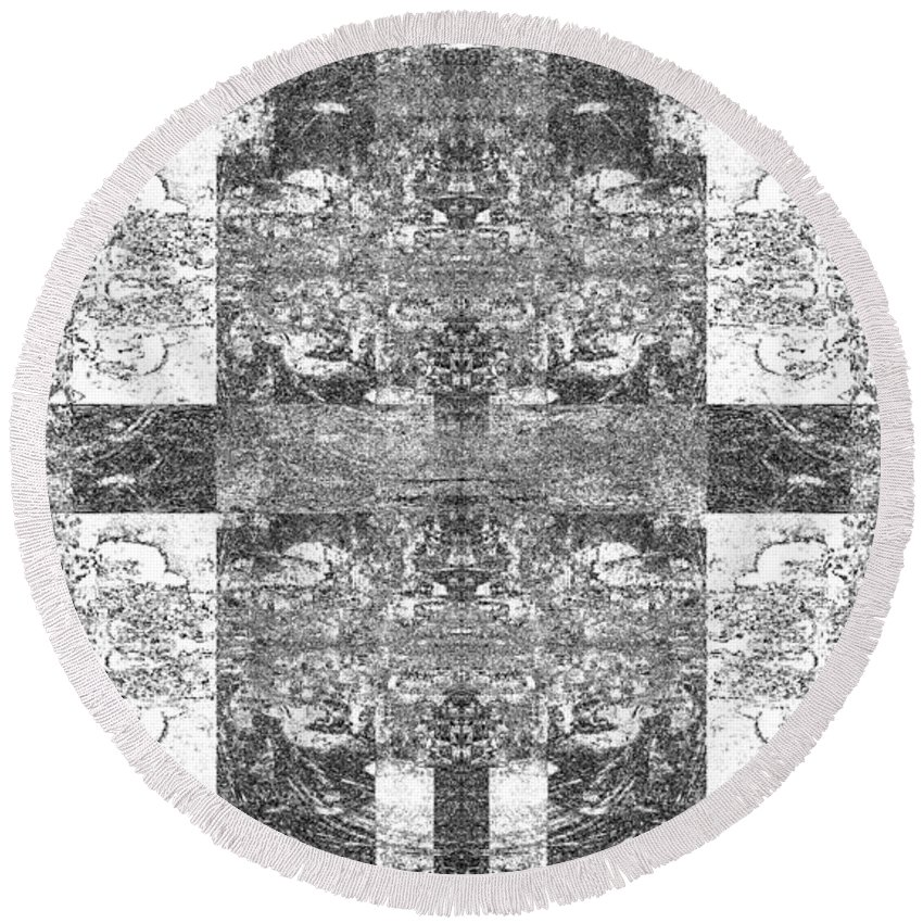 Black And White Round Beach Towel featuring the digital art Skentch by Revantide Afterburner