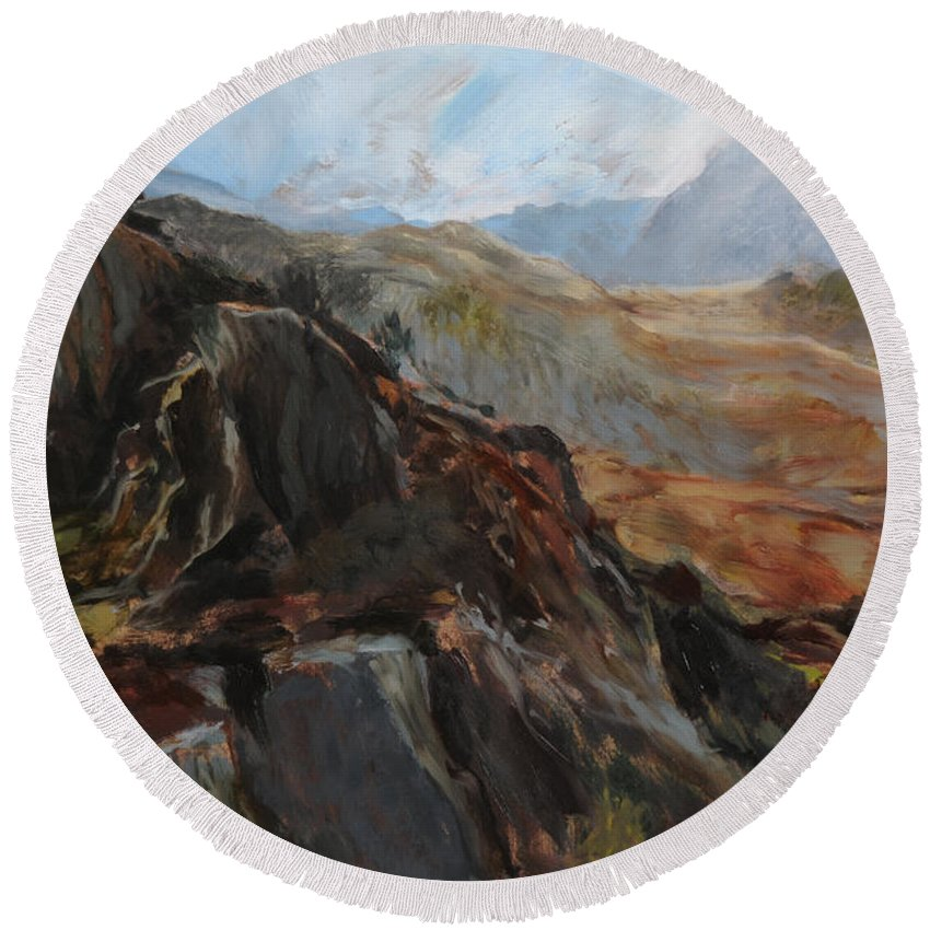 Landscape Round Beach Towel featuring the painting Sketch In Snowdonia by Harry Robertson