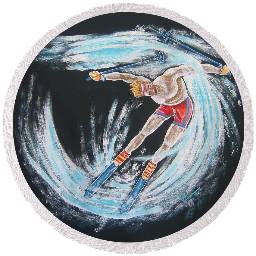Abstract Sports Round Beach Towel featuring the painting Ski Bum by V Boge