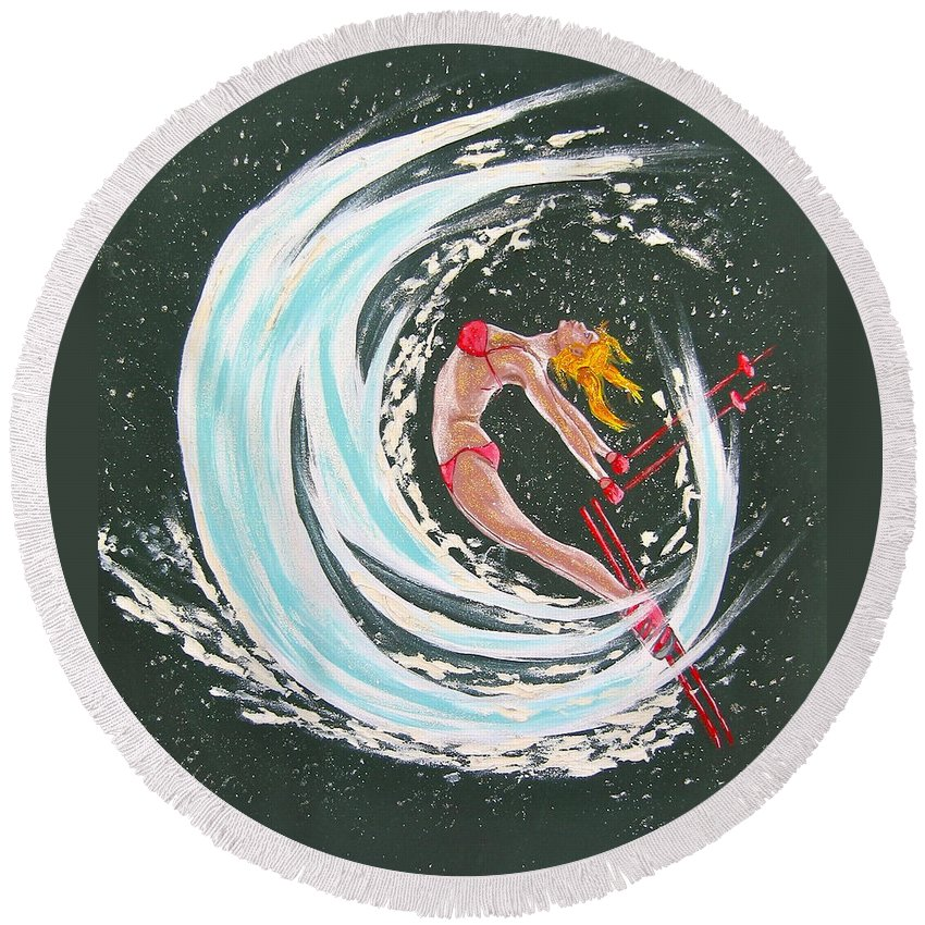 Abstract Sports Round Beach Towel featuring the painting Ski Bunny by V Boge