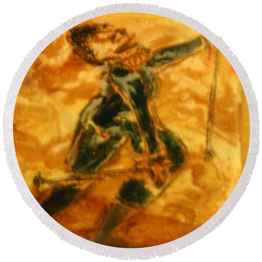 Jesus Round Beach Towel featuring the ceramic art Ski Lady - Tile by Gloria Ssali