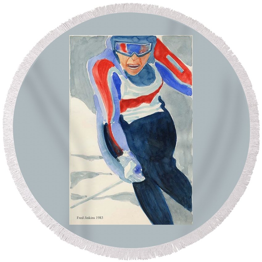 Skier Round Beach Towel featuring the painting Skier by Fred Jinkins