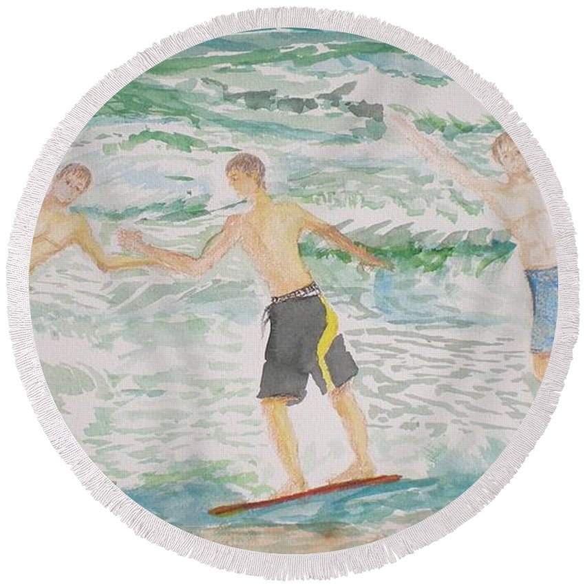 Seascape Round Beach Towel featuring the painting Skim Boarding Daytona Beach by Hal Newhouser