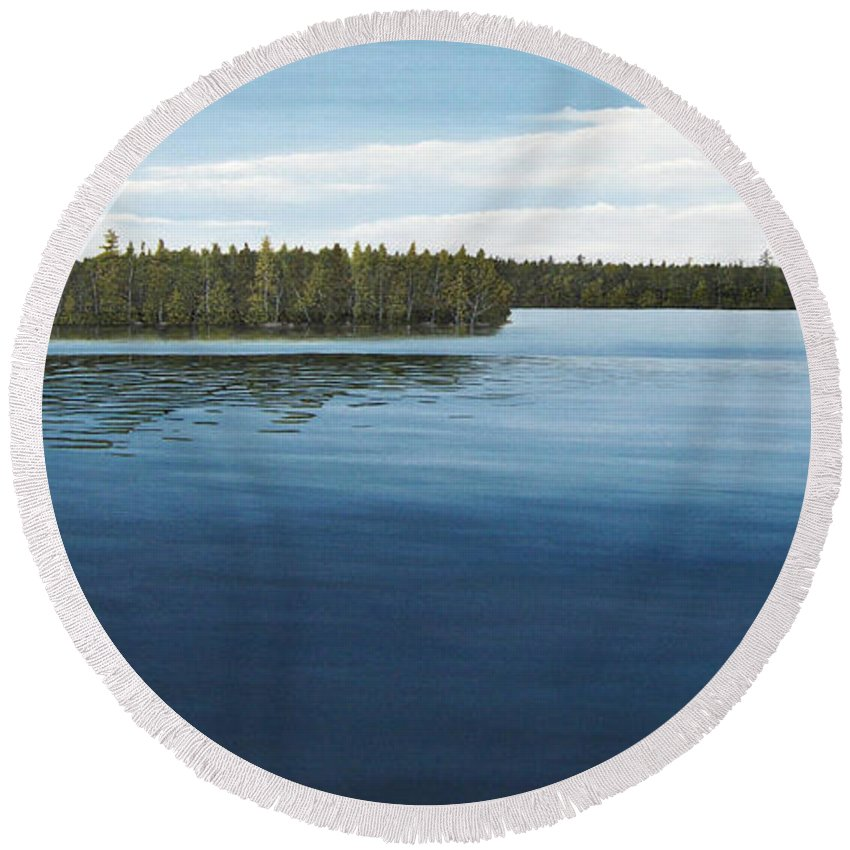 Landscapes Round Beach Towel featuring the painting Skinners Bay Muskoka by Kenneth M Kirsch