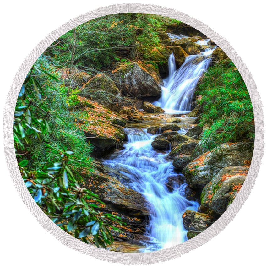 Skinny Dip Falls Round Beach Towel featuring the photograph Skinny Dip Falls by Don Mercer