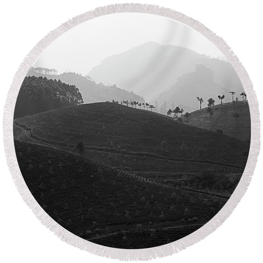 Asia Round Beach Towel featuring the photograph Skn 6539 Rolling Tea Mounds. B/w by Sunil Kapadia