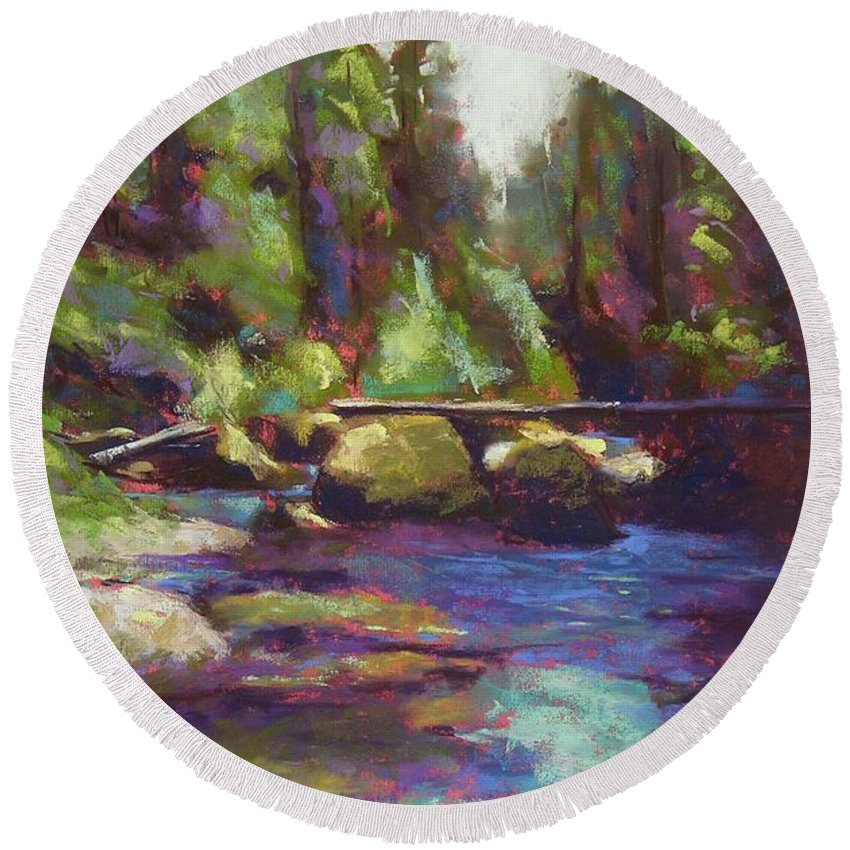 Landscape Round Beach Towel featuring the painting Skokomish River by Mary McInnis