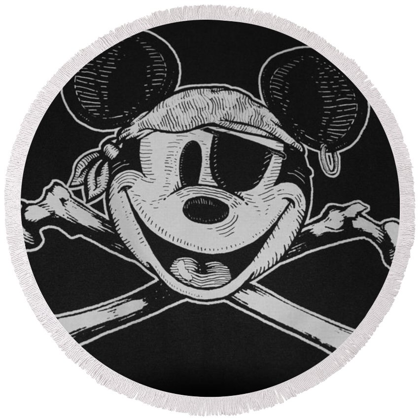 Walt Disney World Round Beach Towel featuring the photograph Skull And Bones Mickey by Rob Hans