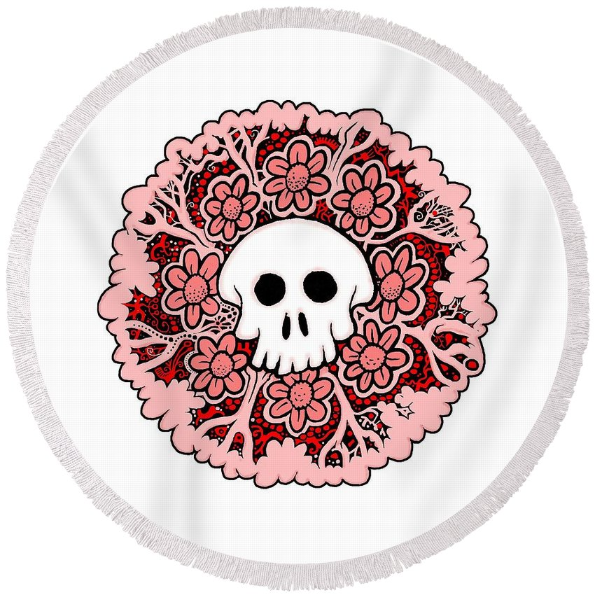 Skull Round Beach Towel featuring the drawing Skull Mandala Pink by Larry Carey