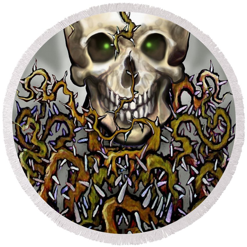 Skull Round Beach Towel featuring the painting Skull N Thorns by Kevin Middleton