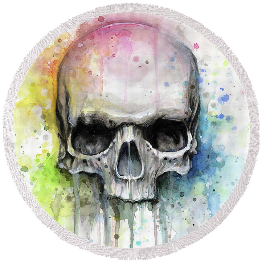 Skull Round Beach Towel featuring the painting Skull Watercolor Rainbow by Olga Shvartsur
