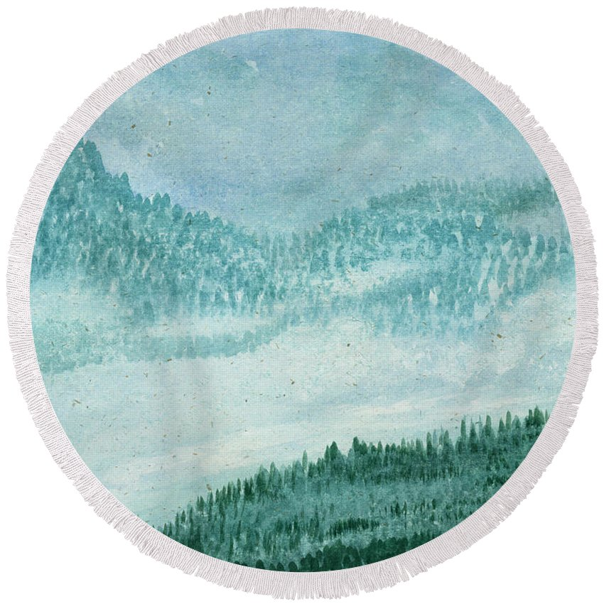 Mountains Round Beach Towel featuring the painting Sky Above And Sky Below by Victor Vosen