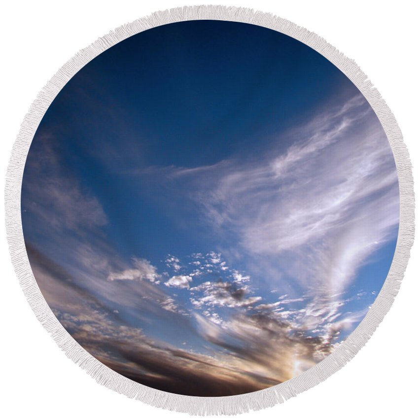 Skies Round Beach Towel featuring the photograph Sky by Amanda Barcon