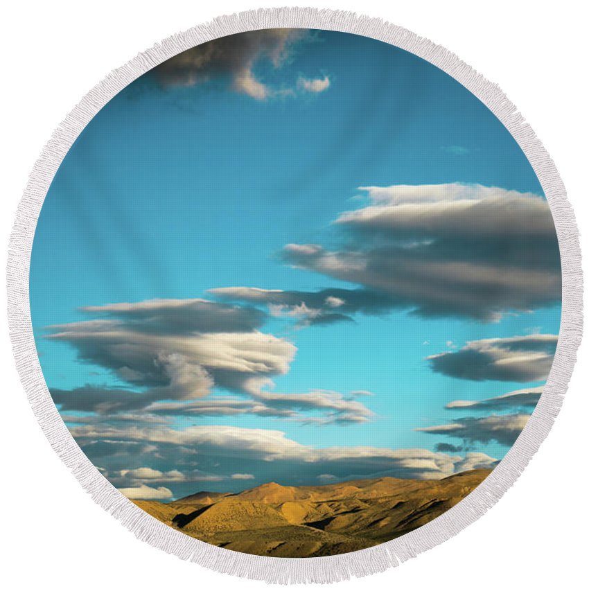 Tibet Round Beach Towel featuring the photograph Sky And Clouds Garuda Valley Tibet Yantra.lv by Raimond Klavins