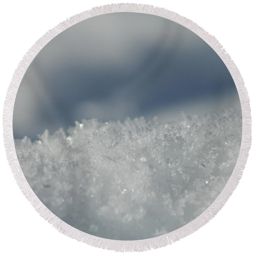 Ice Round Beach Towel featuring the photograph Sky And Ice by Donna Blackhall