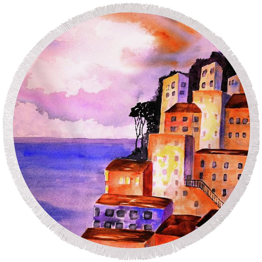 Positano Round Beach Towel featuring the painting Sky At Dusk by Carlin Blahnik CarlinArtWatercolor