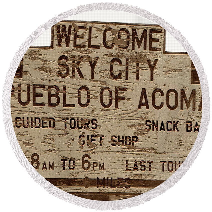 Fine Art Photography Round Beach Towel featuring the photograph Sky City Sign by David Lee Thompson