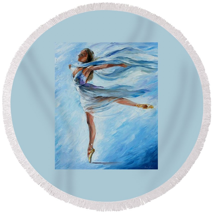 Ballet Round Beach Towel featuring the painting Sky Dance by Leonid Afremov
